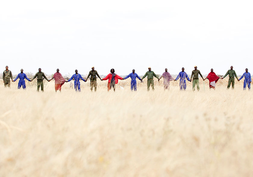 Human-Wildlife-Conflict-Team-in-blue -Village-Game-Scouts-in-Green -and-Maasai-community-members-in-red---a-human-chain