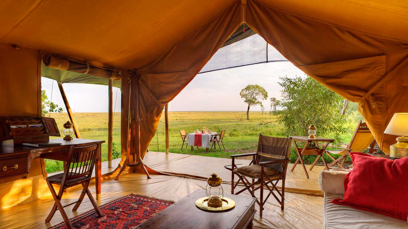 Elephant Pepper Camp accommodation family & honeymoon tent living room 1