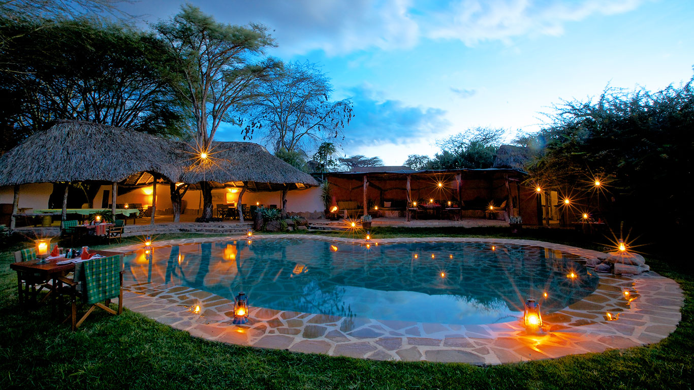 Lewa Safari Camp Pool and Lounge Area